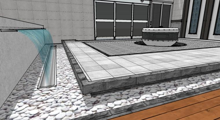 新中式庭院设计SU模型-场景二