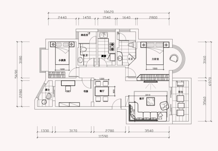 [深圳]现代风格浅色调样板房室内设计施工图(含效果图)