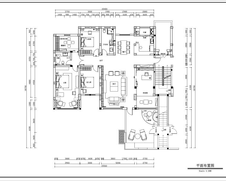 新中式风格四室两厅两卫施工图设计(附3D模型+效果图)