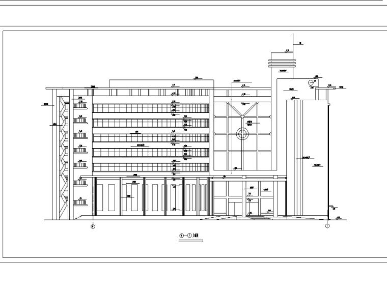 现代扇形多层酒店建筑设计施工图CAD