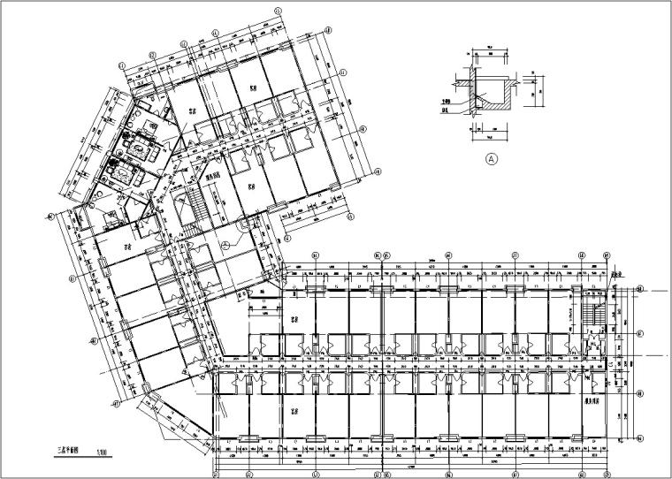 5套现代多层宾馆酒店建筑设计施工图CAD-豪泉多层酒店建筑设计平面图