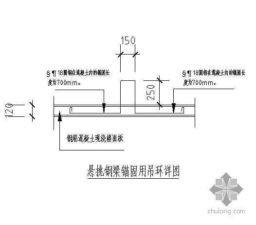 某卸料平台悬挑钢梁锚固用吊环详图