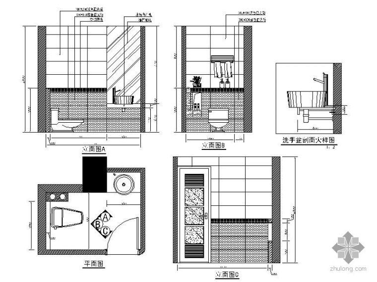 家居卫生间立面图