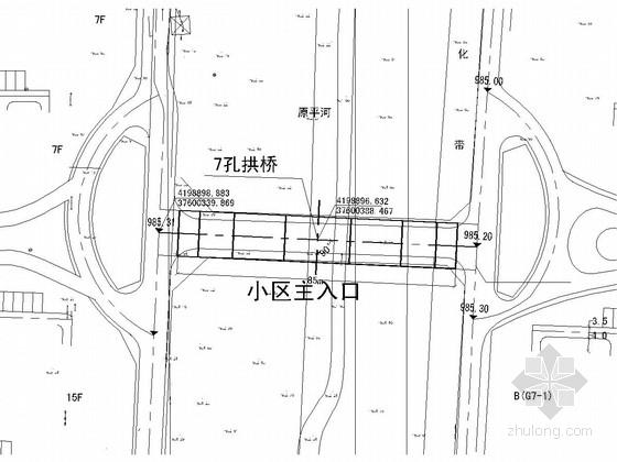 市政住宅小区7孔85米人行拱桥施工图