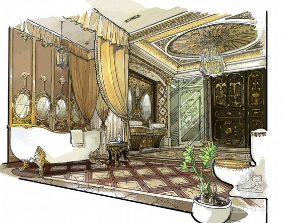 精品豪华欧式风格三层别墅室内装修施工图(含方案效果图)卫生间效果图