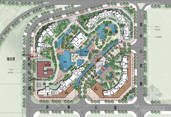 [深圳]新加坡花园式高尚住区设计方案文本-新加坡花园式高尚住区总平面图