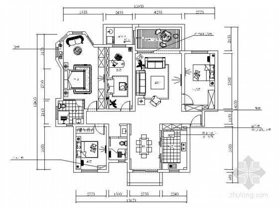 某雅居四室两厅家装设计图(含效果)