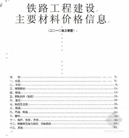 铁路工程建设主要材料价格信息(2010年第3季度)