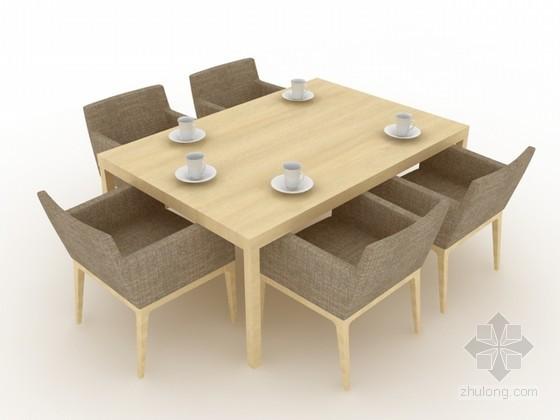 现代餐桌椅组合3d模型下载