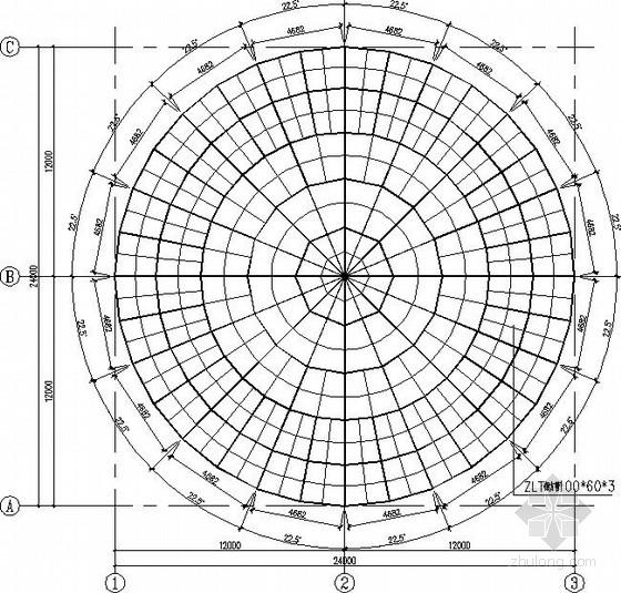 圆形钢网架屋盖结构施工图