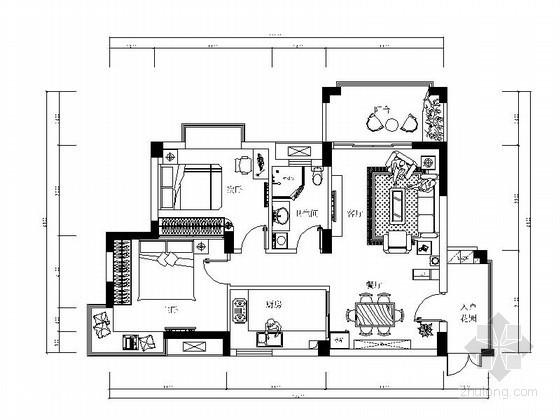 二室二厅一厨一卫室内装修图