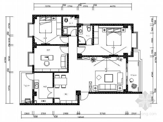 [毕业设计]地中海风格三室两厅室内装修图(含效果模型)