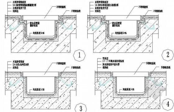 厨浴厕结构承槽明沟防水节点构造