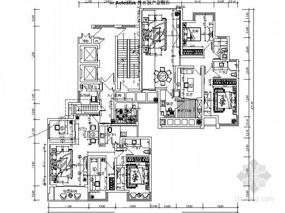 [湖南]新中式样板房三居室设计CAD施工图(含效果)