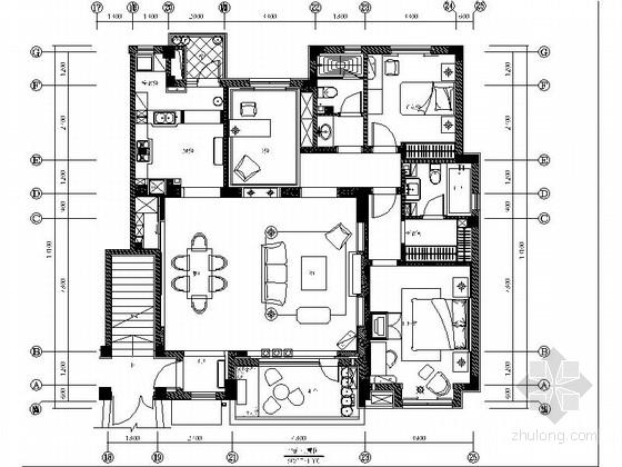 [大连]法式新古典样板间三居室室内设计CAD施工图