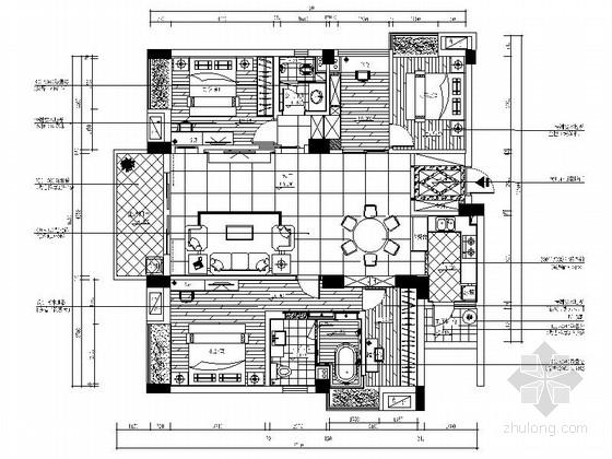[广东]独特简欧风格四居室样板间装修施工图(含效果及实景)