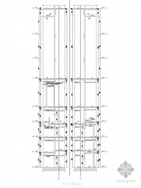 超高层核心筒结构塔楼办公大厦建筑剖面图