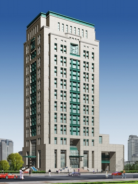 [深圳]25层现代风格办公大厦建筑设计施工图(知名设计院含效果图)-25层现代风格办公大厦建筑设计效果图