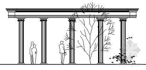 弧形欧式柱廊施工图