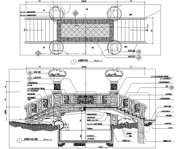 园林景观小品亲水平台、木栈道、景观桥、汀步CAD设计施工图合集