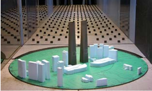 南昌女帝中央广场双塔风洞试验模型
