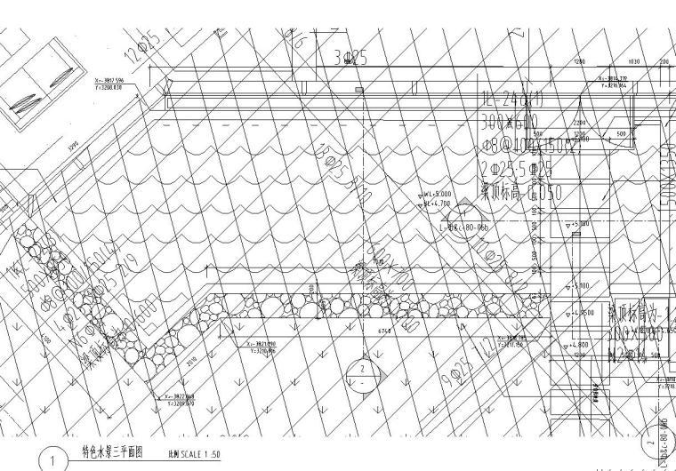 特色跌水水景设计详图——知名景观公司景观-01 平面图