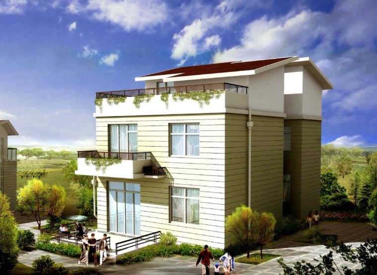 美式3层独栋别墅建筑设计施工图(含全套CAD图纸)