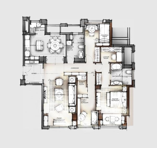 一个150m²平层户型16组室内设计方案-7