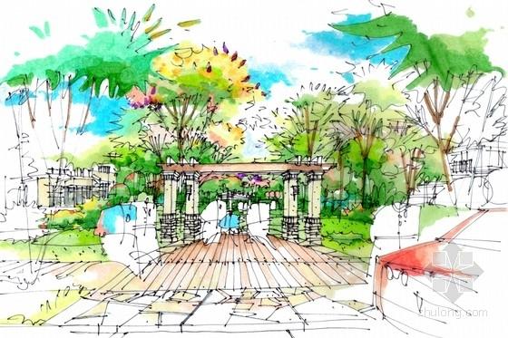 某别墅手绘景观规划设计方案-某别墅手绘景观效果图