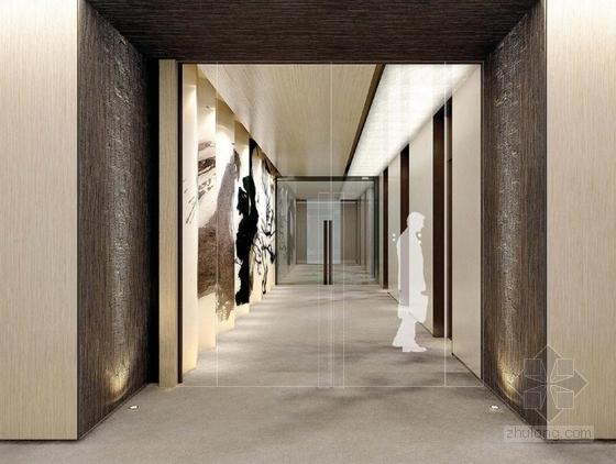[上海]环超高层地标式摩天商务现代办公大楼设计方案电梯厅效果图