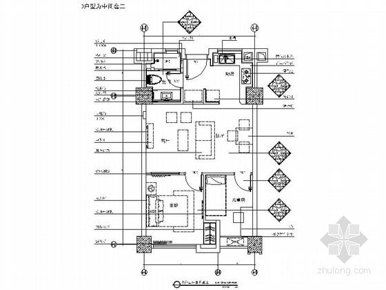 [上海]核心地区现代时尚两居室装修施工图