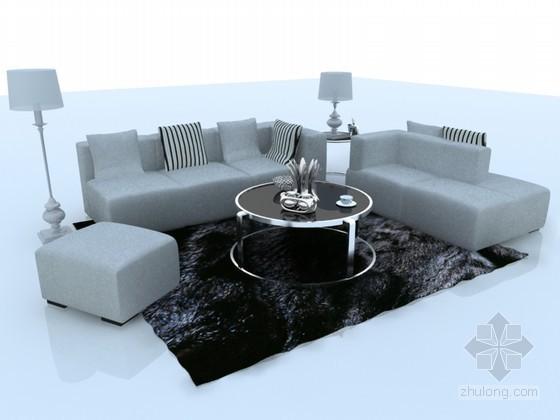 清新沙发3D模型下载