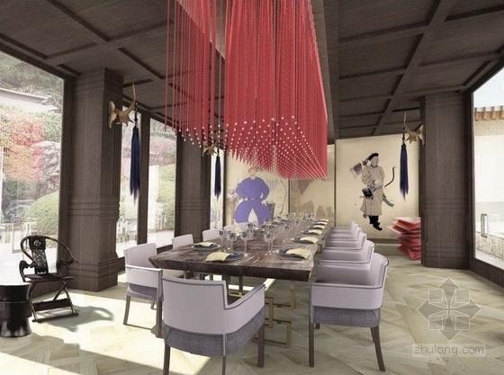 [广东]豪华温泉庭院别墅室内装修设计方案私人贵宾房效果图