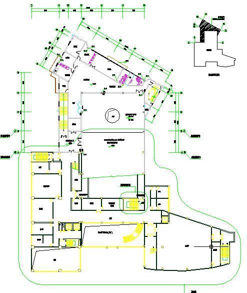二层排水及消防栓平面图