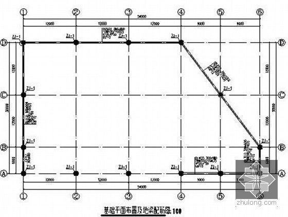 基础平面布置及地梁配筋图