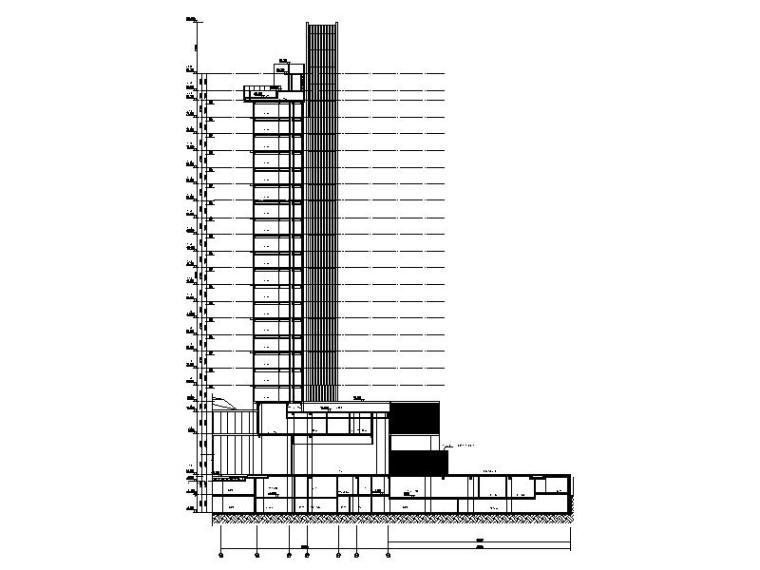 [广东]现代风格高层酒店建筑设计施工图剖面图