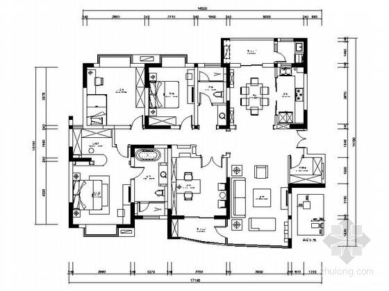 [昆山]小高层田园欧式四居室样板间装修施工图(含高清实景图)