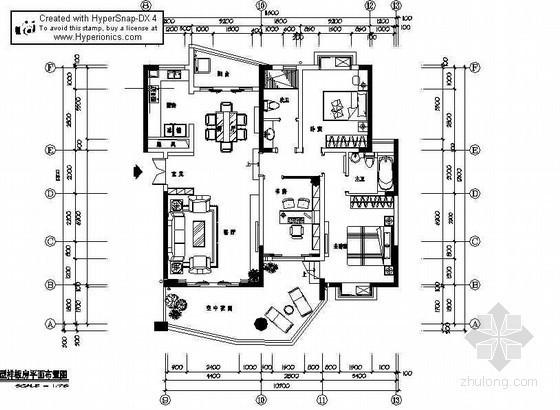 [成都]某三居室A1样板房装修图