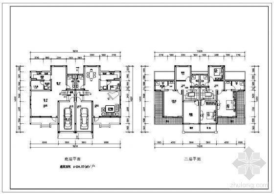 某二层双拼别墅户型平面