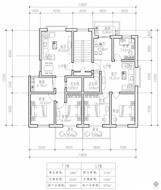 板式多层一梯两户户型图(87/96)