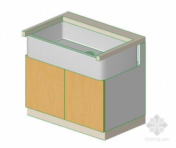 带溢流平沿水槽的2门柜子 archiCAD模型
