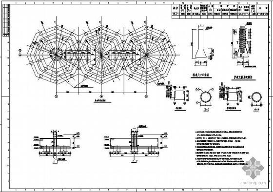 某三连体14米直径石灰贮仓-带大倾角皮带廊钢结构设计图
