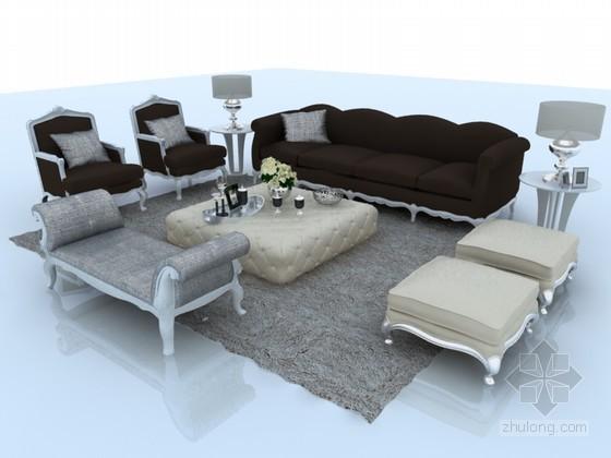 时尚欧式沙发3D模型下载