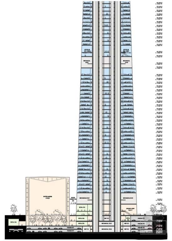 超高层玻璃幕墙办公塔楼建筑设计剖面图