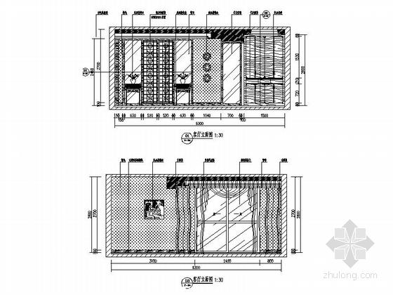 [昆明]新中式复式楼装修设计施工图(含效果)-客厅立面图