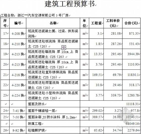 [浙江]厂房土建工程预算书(含工程量计算)(98页)