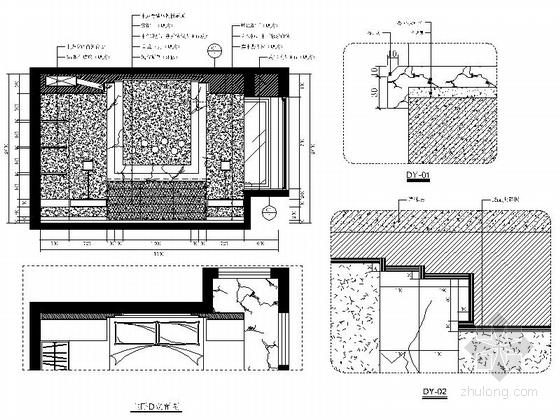 [福州]特色时尚住宅区现代简约两居室样板房装修图(含效果)主卧立面图