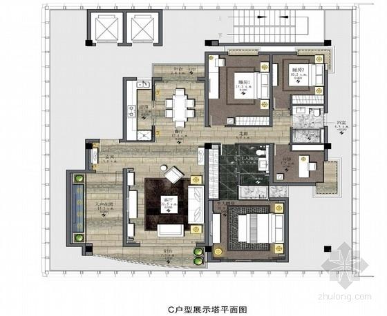 [湖南]名师设计现代风格四居室样板房室内装修设计方案