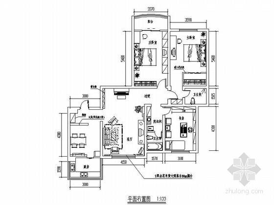 优雅现代中式混搭风格两居室装修图(含效果图)