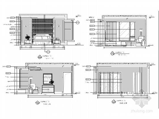 [重庆]时尚现代风格三居室室内装修施工图主卧室立面图